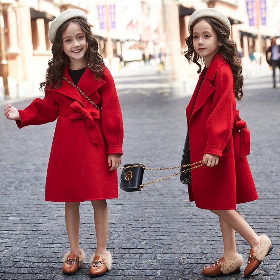 para meninas moda outono inverno blusao jaqueta de la grossa casaco longo das criancas