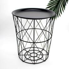 DishyKooker Nordic Golden Iron Metal Tea Table Dirty Storage Basket for Living Room Sofa Side