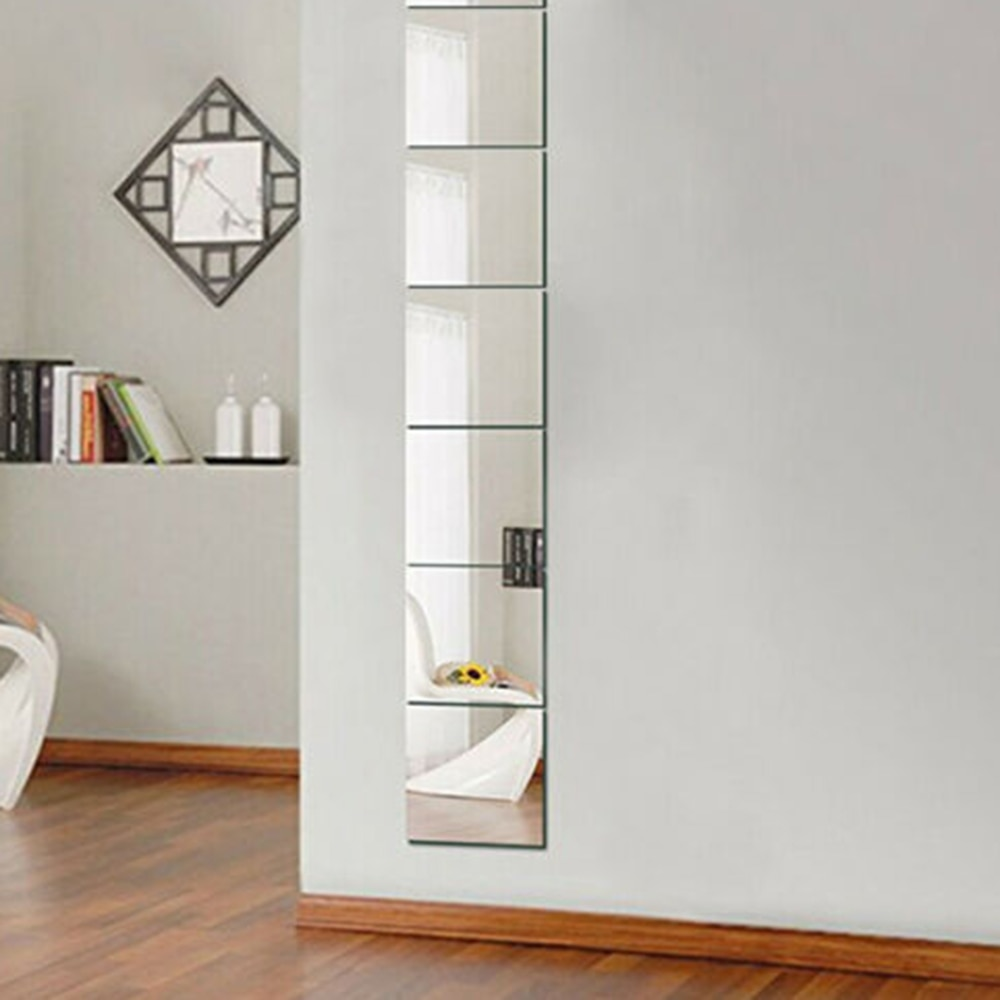 9Pcs  150*150*0.1mm Square Mirror Tile Wall Stickers Decal Home Living Room Decor Walls, Doors, Windows, Closet, Etc.