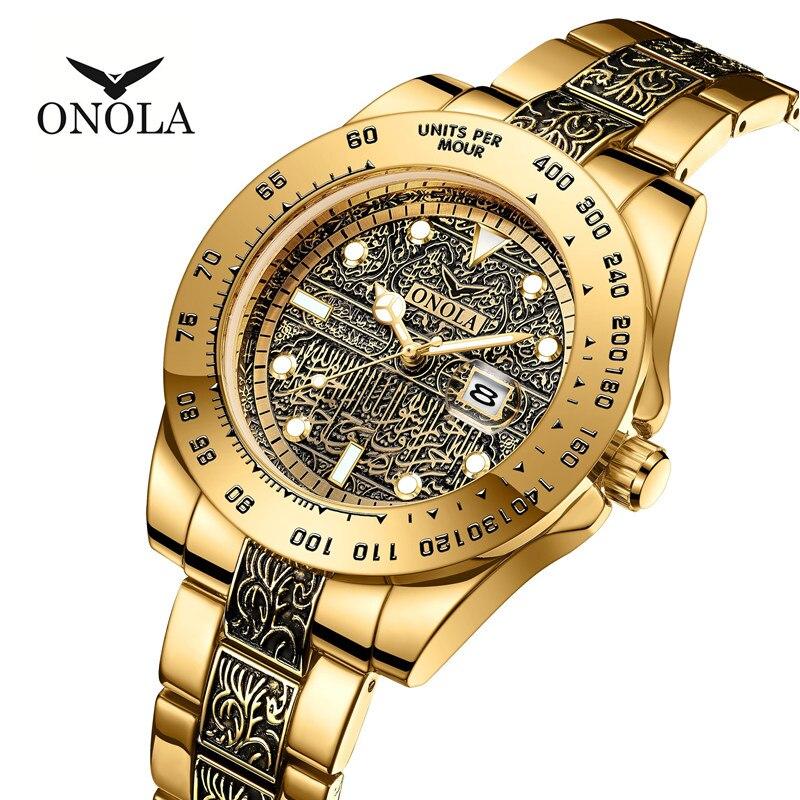 Reloj de moda para hombre, relojes creativos para hombre, reloj de negocios dorado, reloj de lujo para hombre, reloj de mujer bayan saat