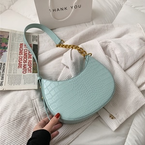 Fashion Crocodile Effect Crescent Shoulder Bags For Women Moon Saddle Chain Link Strap PU Leather Ladies Handbags Spring 2021