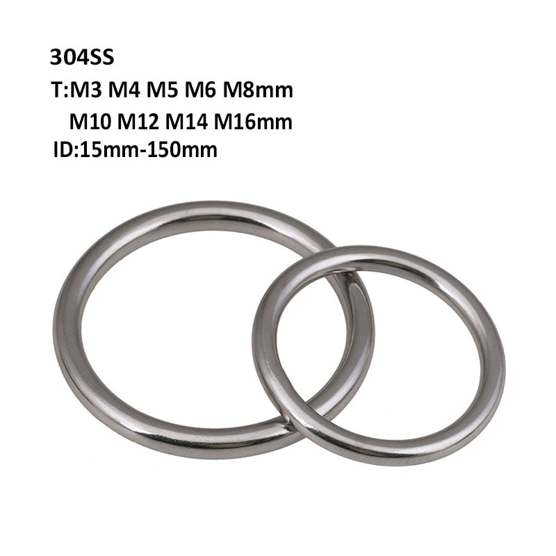 1Pcs 304 Stainless Steel Round Rings Smooth Solid O Ring  For Rigging Marine Boat Hammock Yoga Hanging
