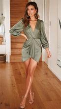 2019 New Style Women Dress Tunic Slim Long Casual Fashion Long Sleeve Deep V neck Sexy Party Dress Summer Mini Dresses