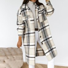 Autumn Winter Women Long-Sleeved Plaid Printed Shirt Jacket Fashion Loose Turn Down Collar Single-Br