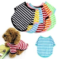 dog puppy pet clothes striped print round neck cold summer t shirt jumper vest chihuahua tshirt