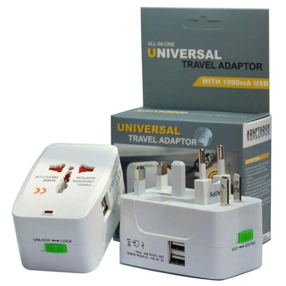 Nuevo 2 USB de carga Universal de viaje adaptador todo en uno viaje internacional mundo AC Power convertidor enchufe adaptador enchufe UE
