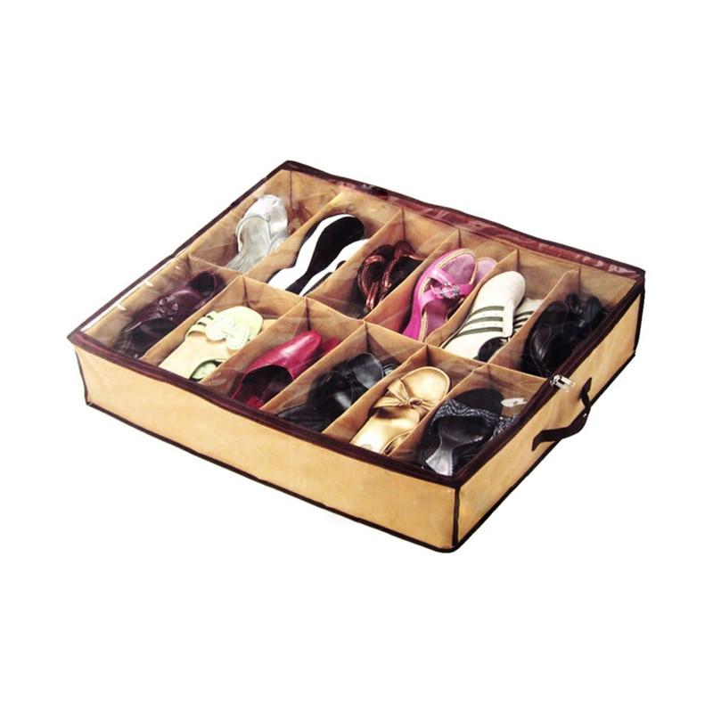 Nonwoven Transparent Creative Shoes Cabinet Dust-Proof 12 Grids Shoes Storage Bag Shoes Organizer Holder Box Under Bed Closet