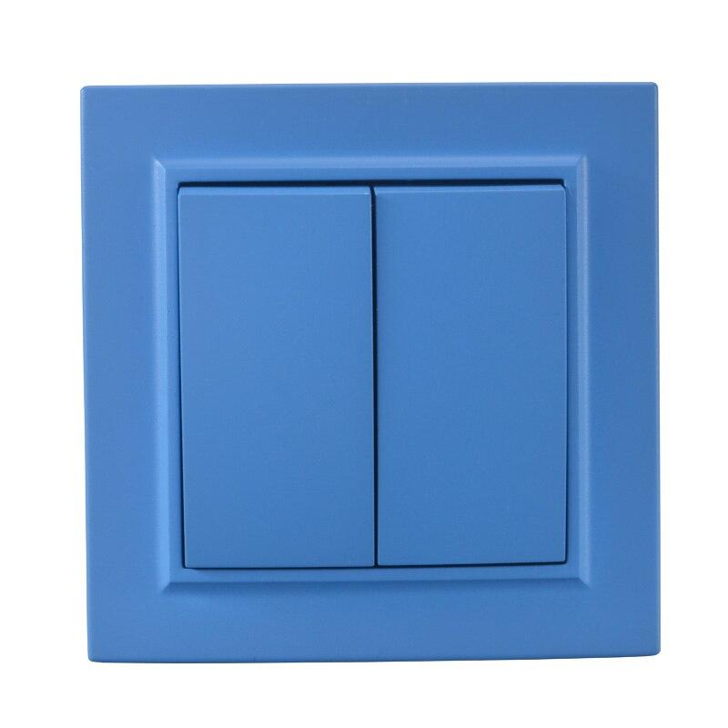 Interruptor de luz dos bandas de una manera colorido europeo estándar DIY interruptor de pared decorativo 10A 250V legrand Schneider EP-02 Sky azul