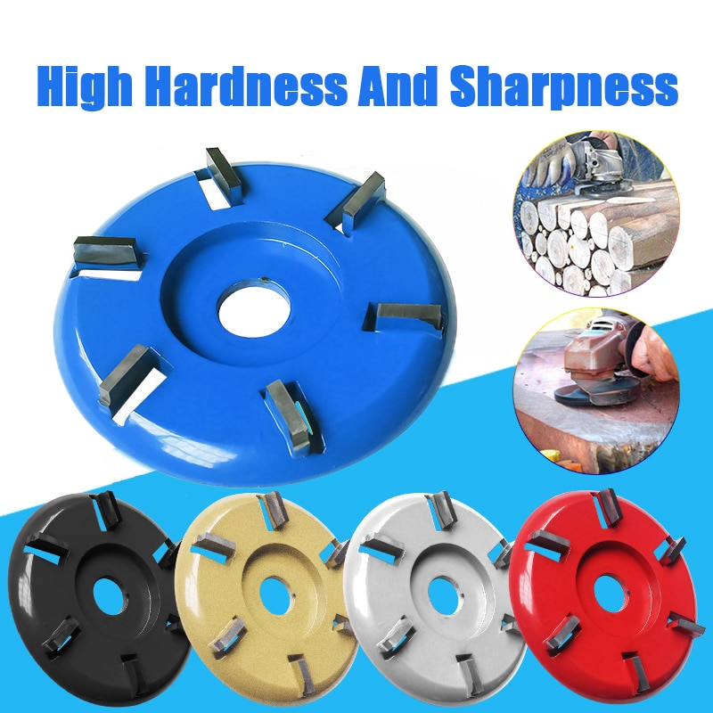 3 4 5 6 8 Teeth Flat Curved Knife Wood Grinding Wheel Rotary Disc Wood Turbo Carving Disc Angle Grinder Disc 16mm Bore