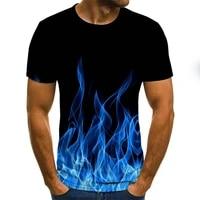 summer fashion short sleeved 3d round neck tops smoke element shirt trendy mens t shirt 2020 new flame mens t shirt