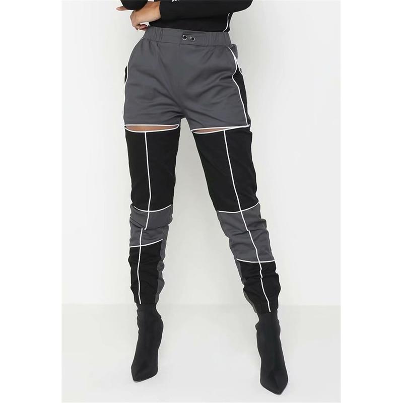 Yvlvol reflectante hip hop beam Pantalones mujer Hollowout alta cintura overoles jazz rendimiento Pantalones