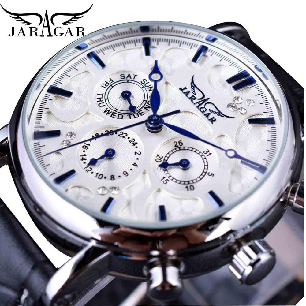 Мужские автоматические механические часы Jaragar, деловые часы белого цвета с 3 циферблатами и календарем, наручные часы с синими ручками и кожаным ремешком