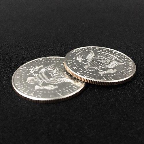 1 Moneda de doble cara (ambos lados en águila o cabeza, hecha por moneda de medio dólar Real) Primer plano trucos de magia accesorios para trucos de ilusionismo