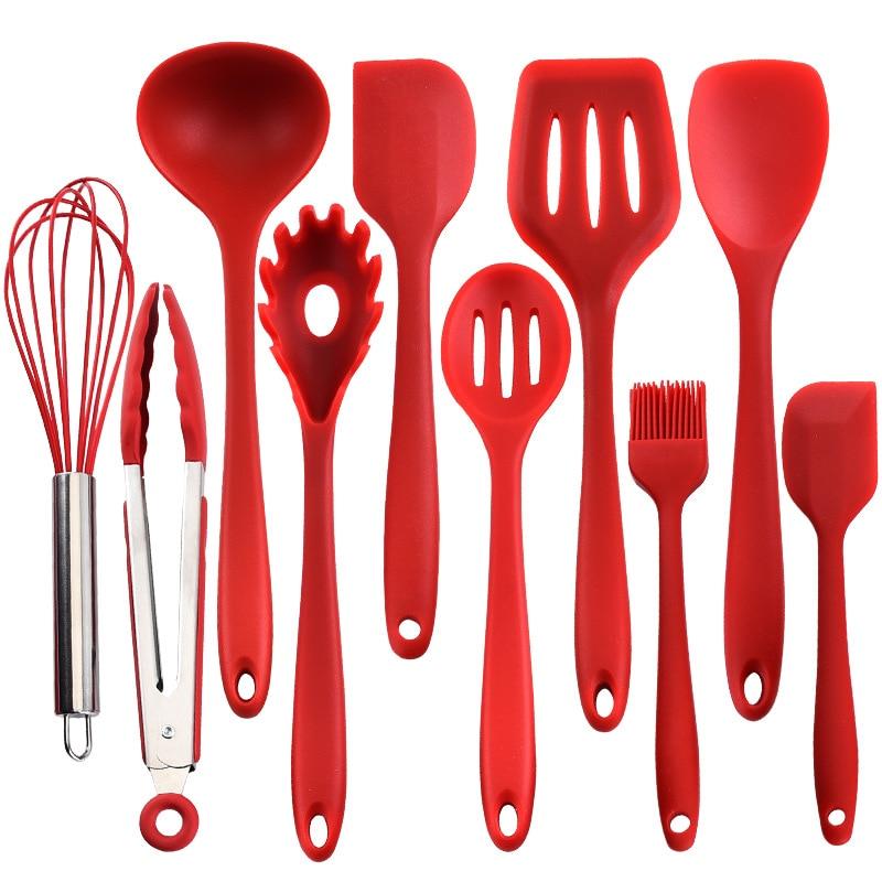 10 قطعة/المجموعة أواني الطهي في المطبخ مجموعة SGS ملون الأزرق الأخضر الأحمر غير عصا تجهيزات المطابخ ملعقة ملعقة تونغ أدوات المطبخ جديد وصول