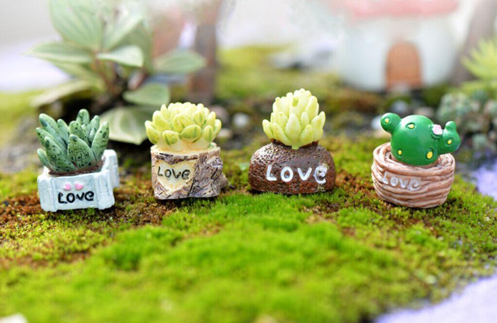 Mini Decoração de Mini Artificial Planta Carnuda Cactus AMOR Realista Paisagem Decorativo Decoração Home статуэтки