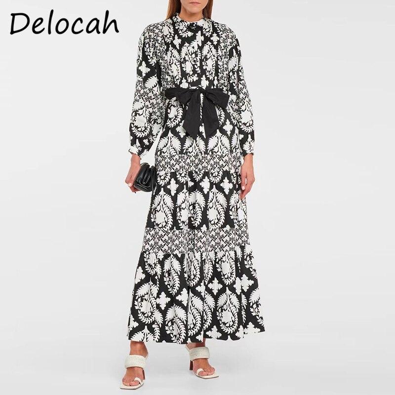 Delocah جديد 2021 أزياء الخريف للنساء مصمم فستان حفلات ميدي فانوس كم فيونكة وشاحات عتيقة للسيدات فساتين على شكل حرف a