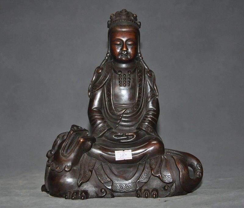 "Navidad 9 ""tibetano, budismo, bronce Wenshu Manjushri León Guanyin, Estatua de la diosa Bodhisattva halloween"