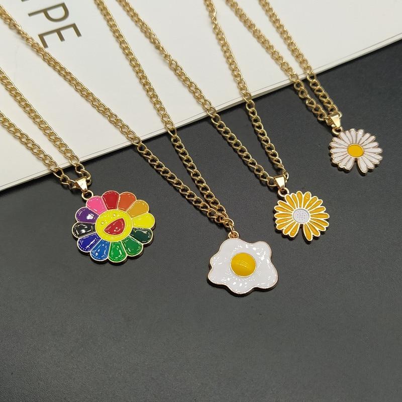 Moda verão liga sol flor pingente colar liga girassol pétalas coloridas smiley girado dropshipping atacado