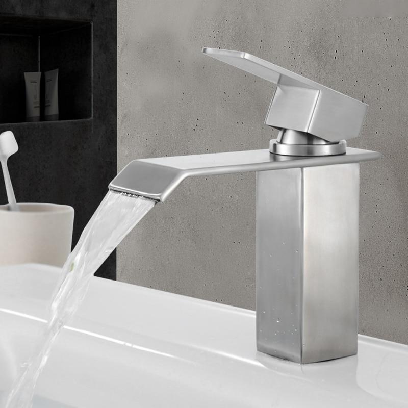 مربع الباردة الساخنة بالوعة الصنابير حوض للحمام صنبور الفولاذ المقاوم للصدأ موضة مغسلة حوض المرحاض مربع صنبور المياه