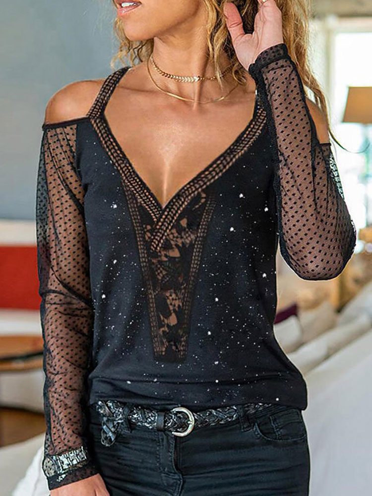 Фото - 2021 Spring Summer Women Sexy Daily Wear Cold Shoulder Sheer Mesh Lace Blouse Long SLeeve Black Shirt Casual bell sleeve cold shoulder lace panel dress