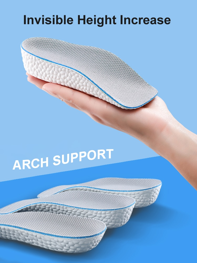 Arch Support Increase Height Insoles Light Weight Soft Elastic Lift for Men Women Shoes Pads 1.5CM 2