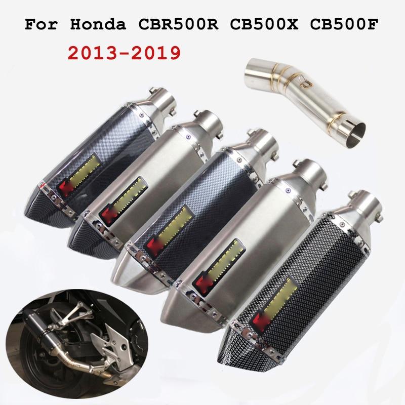 Para Honda CBR500R CB500X CB500F silenciador de tubo de escape de motocicleta con sistema de tubo de conexión medio Killer DB 2013-2019 14 15 16 17 18