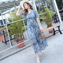 Women's Dress 2021 Korean New Summer Sexy V-neck Flower Print Large Chiffon Dress Slim Waist Small B