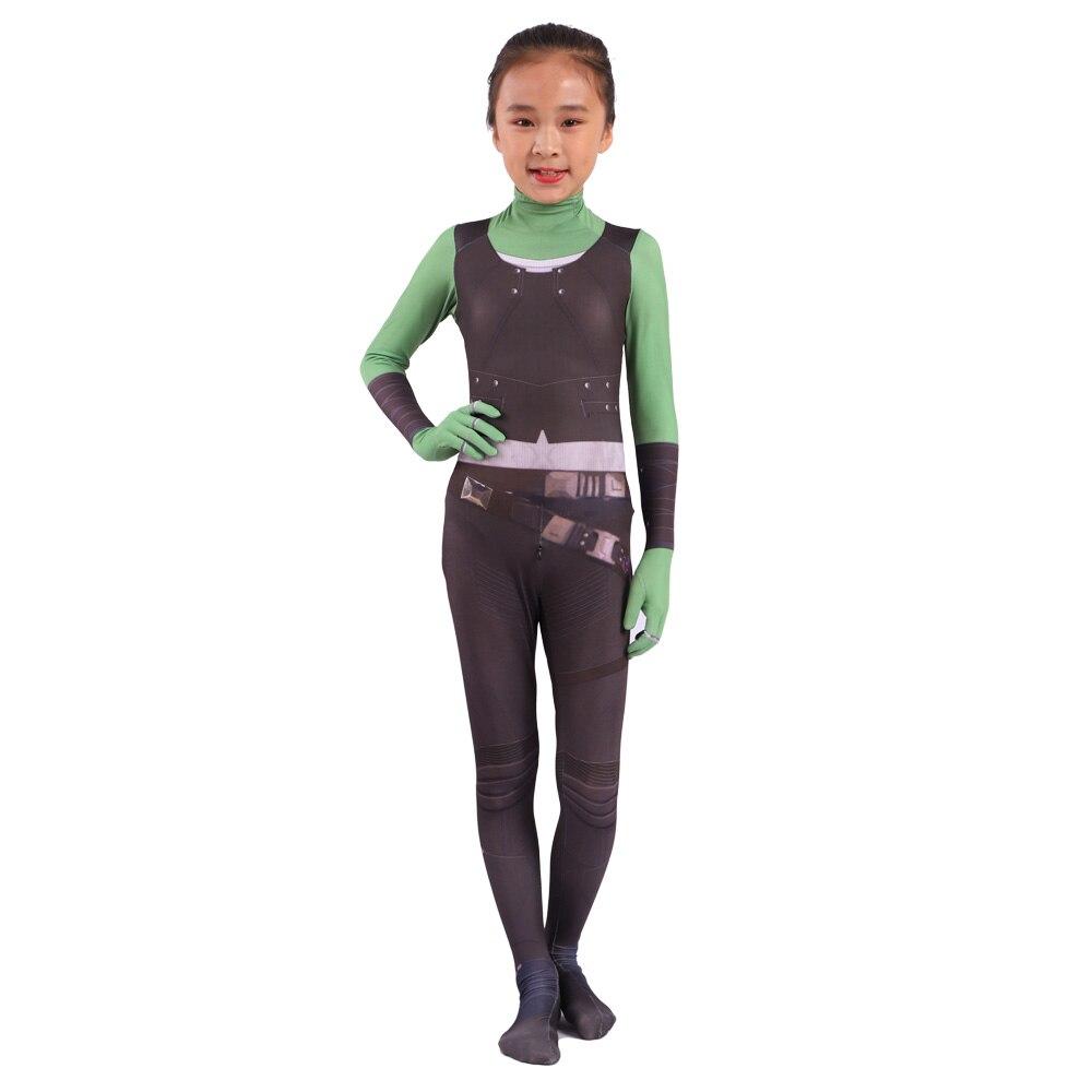 2019 disfraz de Cosplay de Gamora para adulto Zentai infantil mono de héroe Cosplay Halloween niños traje de fiesta de chica