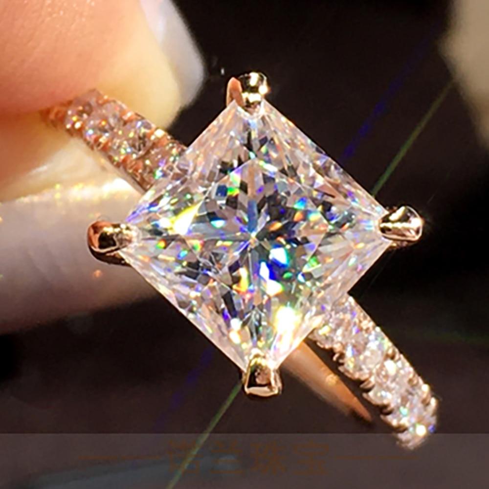 10K Au417 Gold Rings 1 2 3 4 5 Carat Princess Square D color VVS Moissanite Diamond Wedding Party Engagement Anniversary Ring