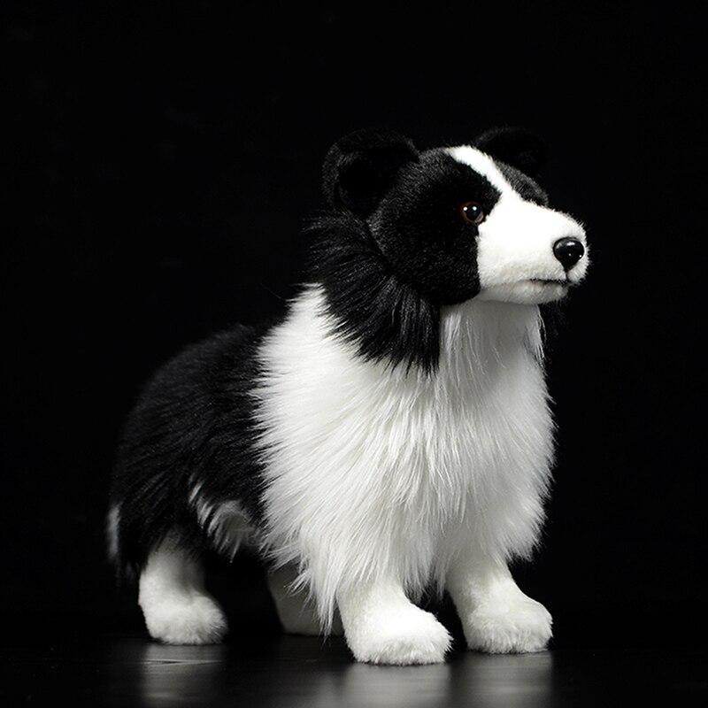 Original quente fronteira collie cão mini cão crianças brinquedos de pelúcia recheado preto bonito adorável presente da criança lifelike animal boneca poodles modelo