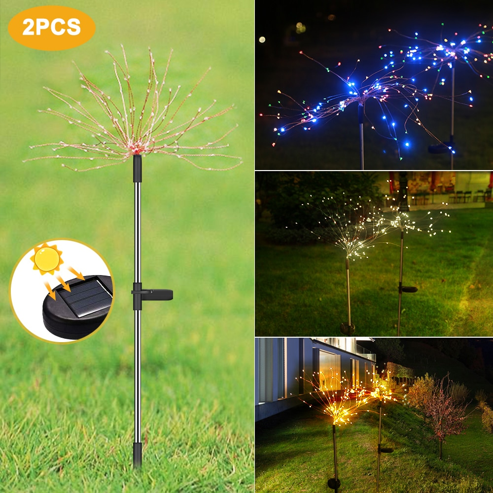 Solar Light 90/120/150 LED Outdoor Waterproof Solar Garden Light Grass Fireworks Lamp Dandelion Lawn Lights Landscape Lamp