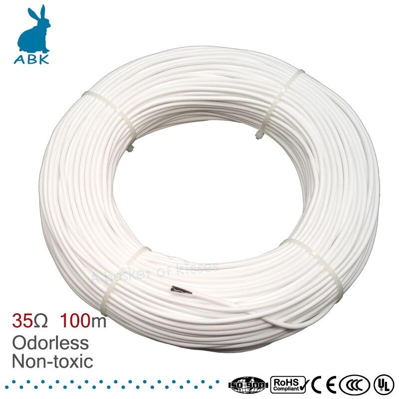 100m HRAG alta calidad 12K 33ohm cable de calefacción de fibra de carbono cable de calefacción de suelo cable eléctrico hotline no tóxico cable de calefacción inodoro