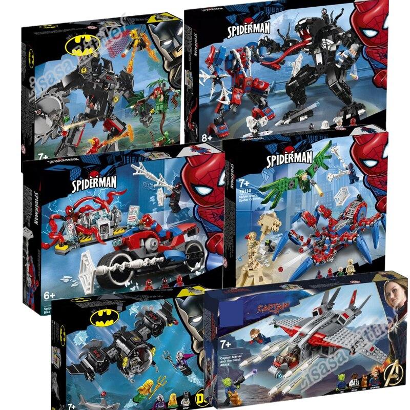 Nuevo juego de Batman y Spiderman 76113 76114 76115 76119 bloques de construcción juguetes de Superhéroes para niños