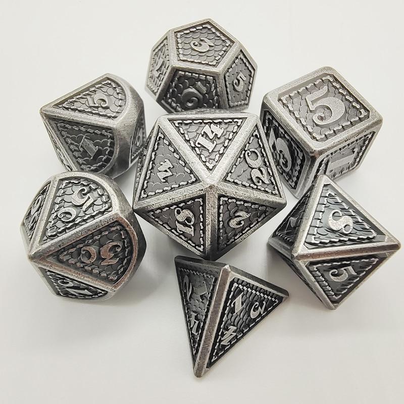 De Metal Conjunto 7 Pçs/set D & D Corta Poliédrico Dice RPG Jogos de Mesa Cubos Red Copper Alloy Dyses Bronze Conjuntos de Dados D4 D6 D8 D10 D12 D20
