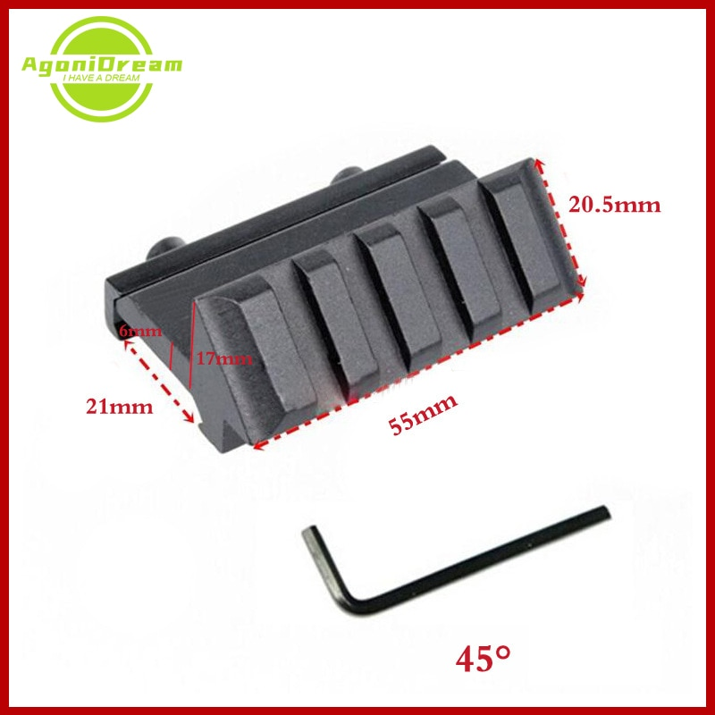 4 Slot One Side 45 Degree Angle Offset 20mm Rail Mount For Weaver Picatinny Rail Caza Tactical Hunting Accessories