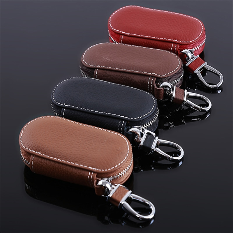Men Key Holder Housekeeper Leather Car Key Wallets Keys Organizer Women Keychain Covers Zipper Key C