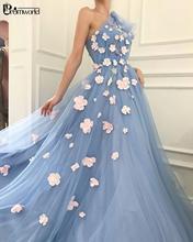 Licht Blau Prom Kleider 2020 Schulter Blumen Tüll Fee Abendkleid Lange A-Line Abend Party Kleid Robe De Soiree