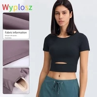 wyplosz solid color yoga short sleeve cotton exercise workout woman t shirts anti sweat hip length running fitness gym crop top