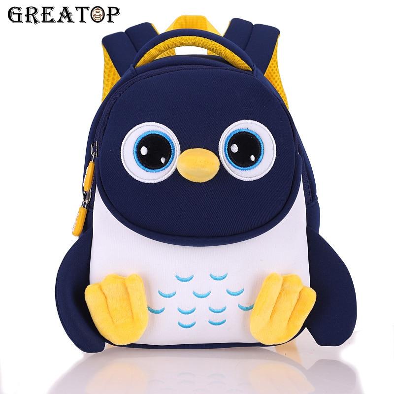 GREATOP Penguin Kids Backpack Baby Toddler Children School Bag 3D Cartoon Kindergarten Mochila for Boys Girls 2-5 Years