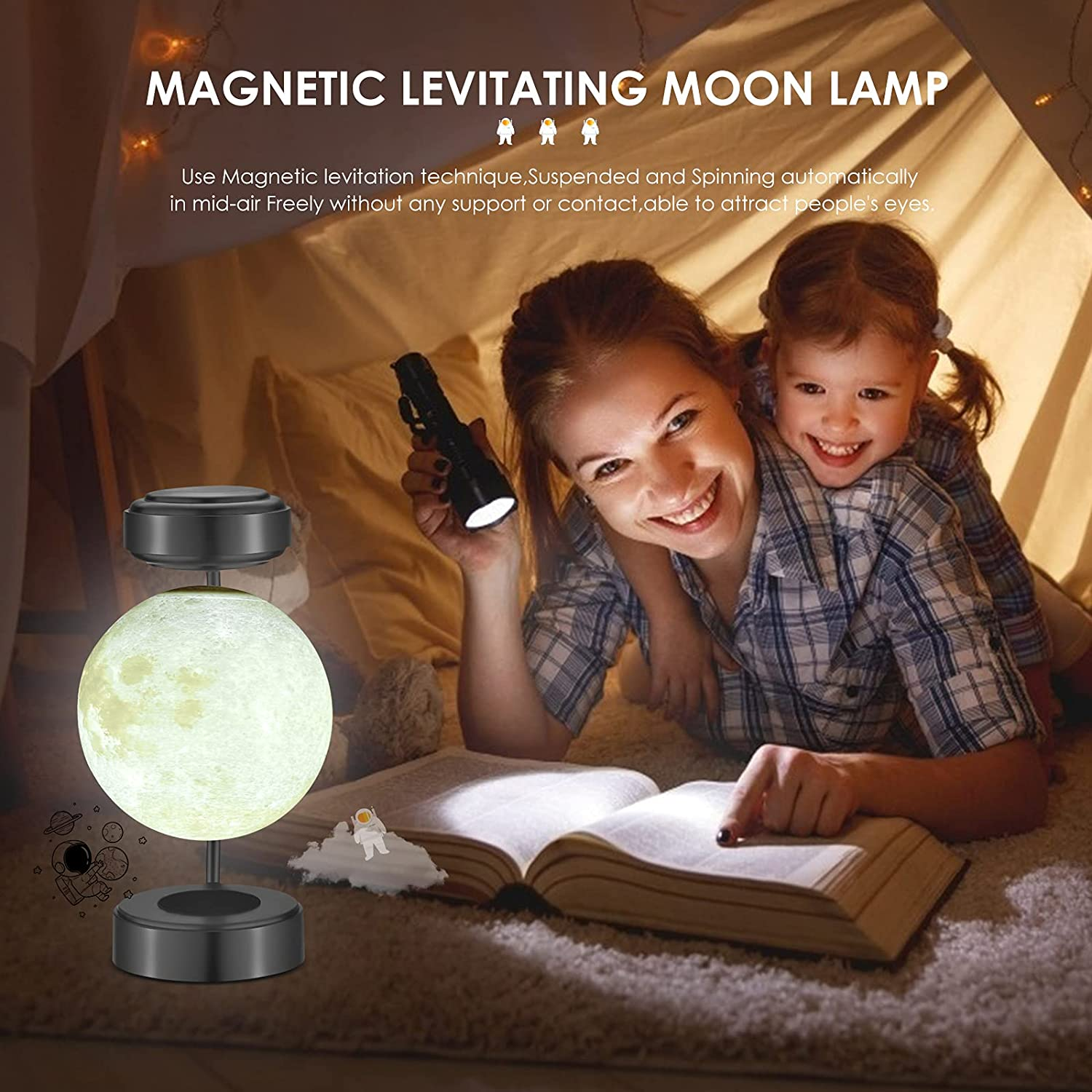 Levitating Moon Lamp,Suspended Moon Light, with Luxury Iron Bracket and 3D Printed LED Moon Light, can Float Freely in The air i enlarge