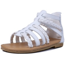 MuyGuay Toddler Girls Gladiator Sandals with Braided Strappy Summer Shoes with Zipper