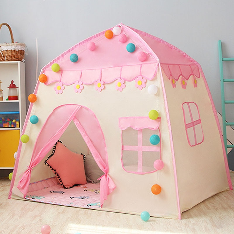 Large Children's Tent Tipi Foldable Kids Wigwam Indoor Baby Castale Tiny Play House Huge Girls Pink Princess Castale Tent Gift недорого