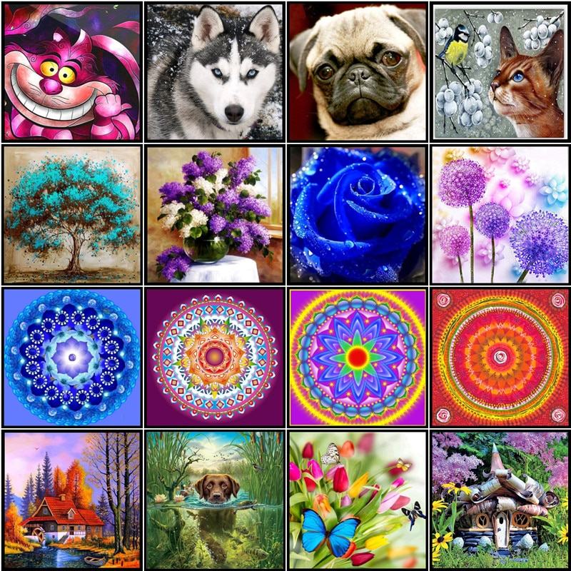 "Pintura de diamante 5D ""DIY"" animal flor círculo mosaico bordado paisaje completo diamante redondo manualidades de punto de cruz adornos"