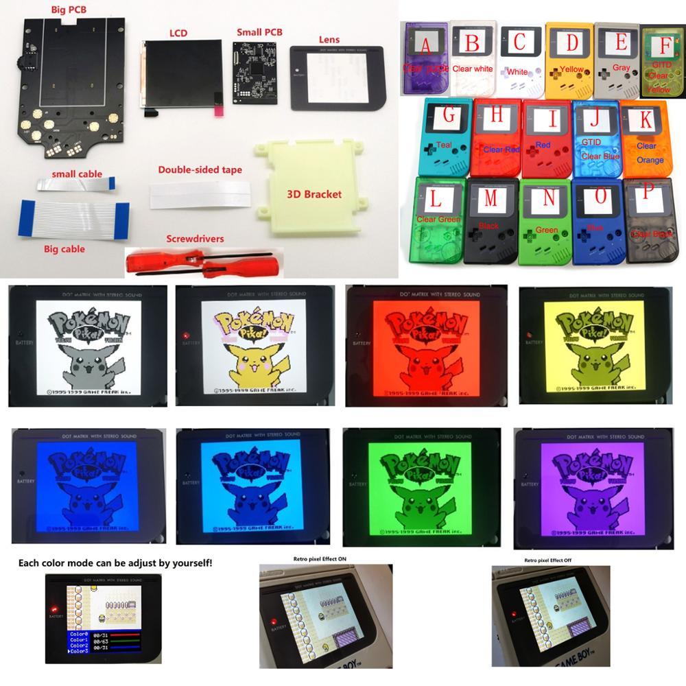 لتقوم بها بنفسك أكبر حجم سوبر OSD مزق LCD عالية الوضوح iPS الخلفية عدة ل GameBoy DMG GB وحدة التحكم DMG IPS شاشة الكريستال السائل مع اللون