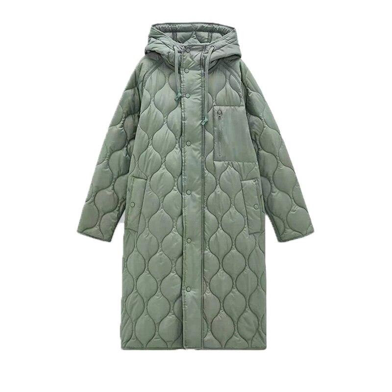 Za المرأة هوديس معطف الشتاء الدافئة المعتاد سترة طويلة fasfashoin ملابس طويلة الأكمام معطف سميك الصلبة امرأة معطف trf