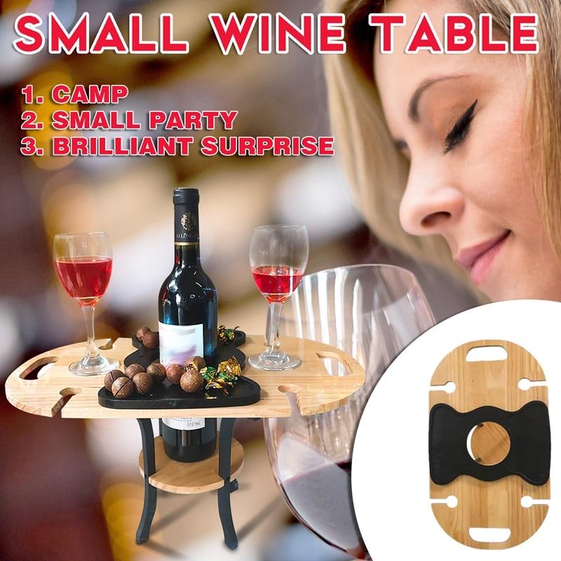 طاولة تخييم صغيرة في الهواء الطلق الجداول النبيذ الرف طوي وتجميعها 4 نظارات طاولة النبيذ لحديقة ساحة الأثاث
