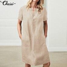 Celmia femmes robe dété 2020 mode coton lin robe manches courtes chemise bouton femme Vintage décontracté Sarafans Vestidos