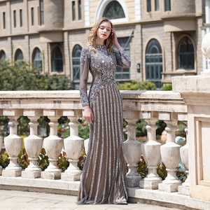 Dark Gray Rhinestones Long Sleeve Evening Dress 2020 High Collar Tulle Sequined Beaded Mermaid Evening Gown Formal Party Dresses