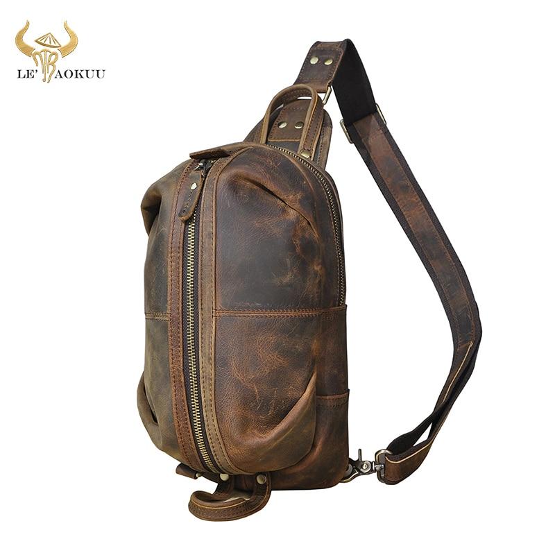 حقيبة كتف من الجلد كريزي هورس للرجال ، حقيبة كتف غير رسمية وعصرية ، حقيبة سفر ، 1186