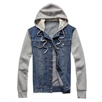 denim men hooded sportswear outdoors casual fashion jeans jackets hoodies cowboy mens jacket and coat plus size